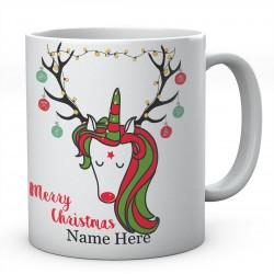 Unicorn Christmas Tree Merry Christmas Personalised Funny Mug