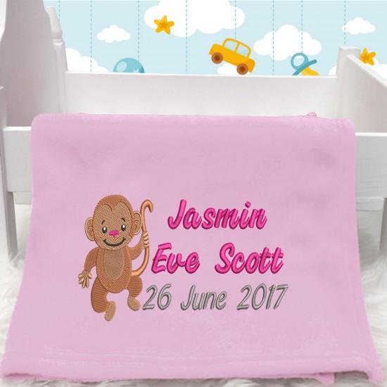 Personalised Monkey Any Name Fleece Blanket