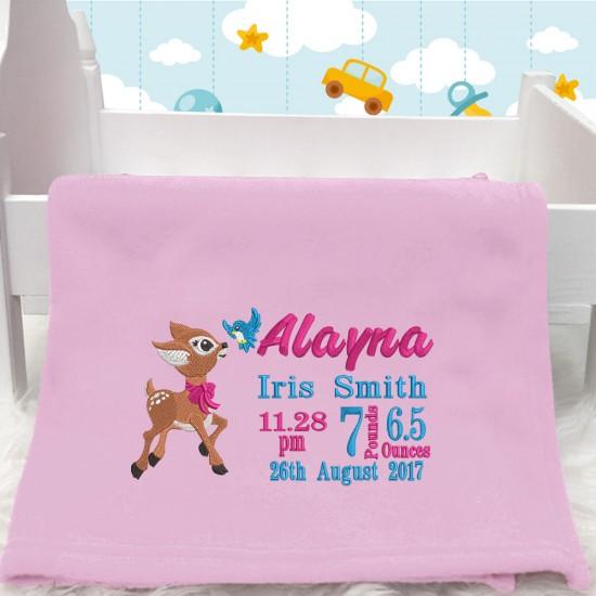 Personalised Embroidered Deer Baby Blanket (Birth Block)