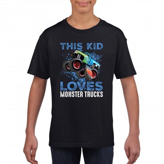 This Kid Loves Monster Trucks Funny T Shirt Kids Unisex - Printed Graphic Tee