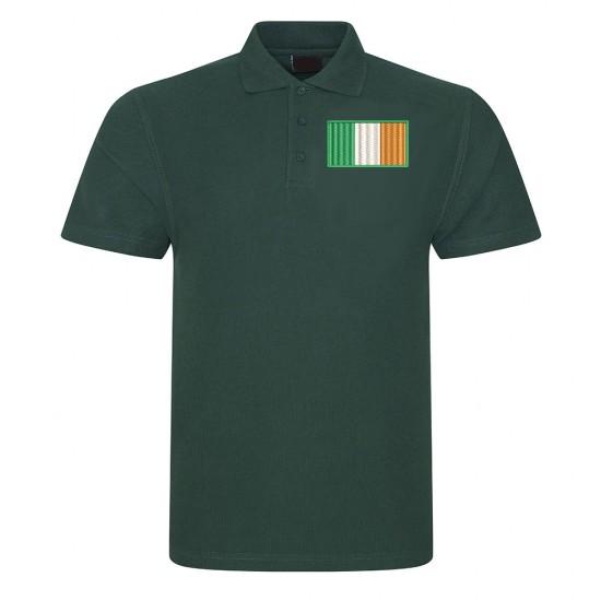 Adults Personalised Irish FlagPolo Shirt Embroidered.
