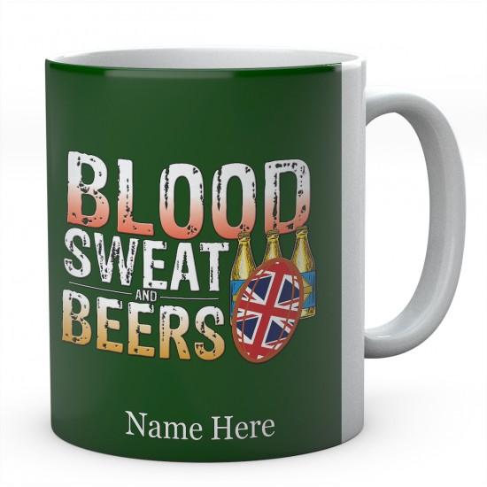 Personalised Blood Sweat And Beers United Kingdom RugbyMug