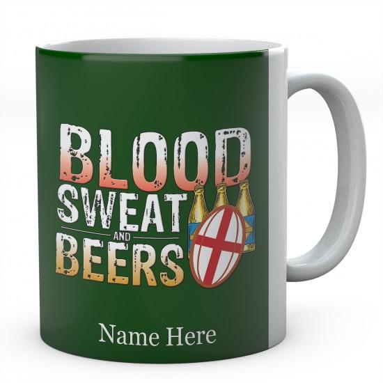 Personalised Blood Sweat And Beers England Rugby Mug