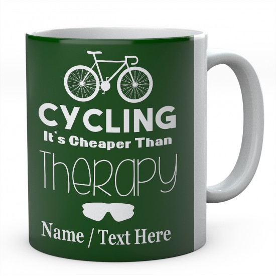Cycling It's Cheaper Than Therapy-Personalised Mug