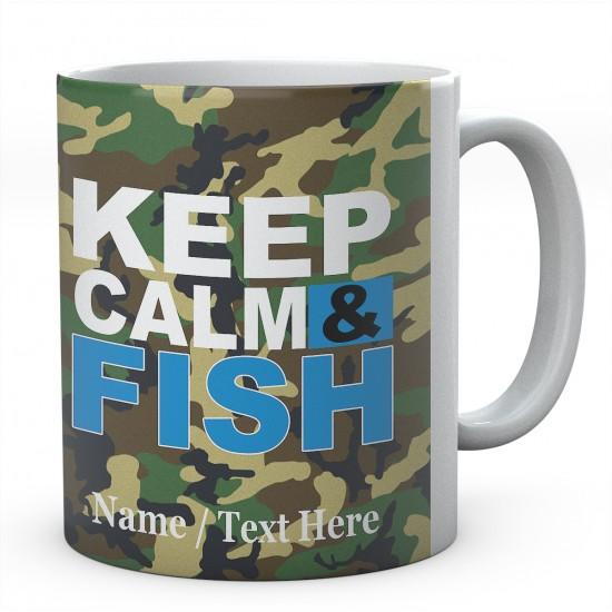 Keep Calm & Fish - Personalised Ceramic Fishing Mug.