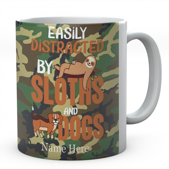 Easily Distracted By Sloths Personalised Novelty Ceramic Mug