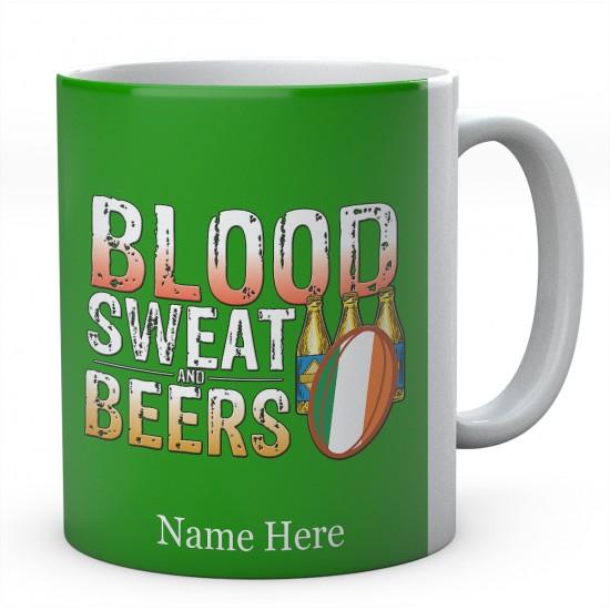 Personalised Blood Sweat And Beers Ireland Rugby Mug