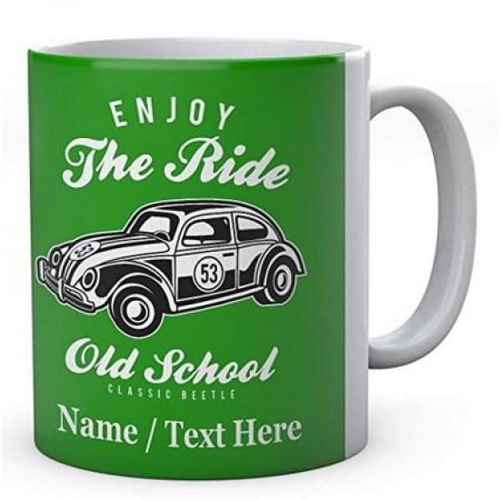 Enjoy The Ride Old School Classic Beetle - Personalised Mug