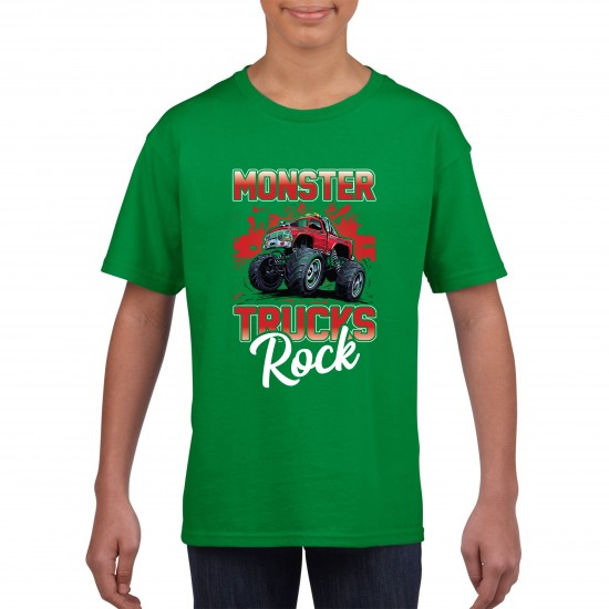 Monster Trucks Rock Funny T Shirt Kids Unisex - Printed Graphic Tee