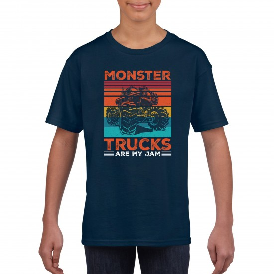 Monster Trucks Are My Jam Funny T Shirt Kids Unisex - Printed Graphic Tee