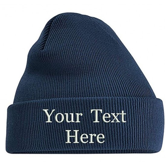 Adults Personalised Embroidered Any Name Unisex Cuffed Knitted Beanie/Hat