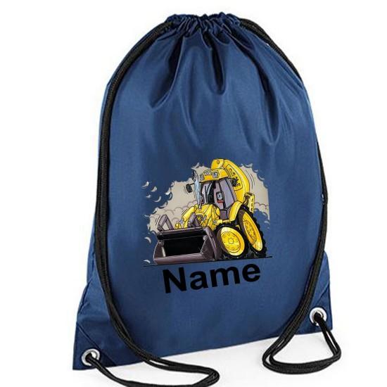 Personalised Koolart Yellow Digger 0174 Printed Gym Bag