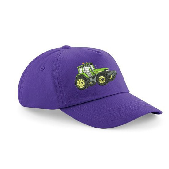 Child's Cap With Embroidered Tractor( Green/Yellow) (B10b )