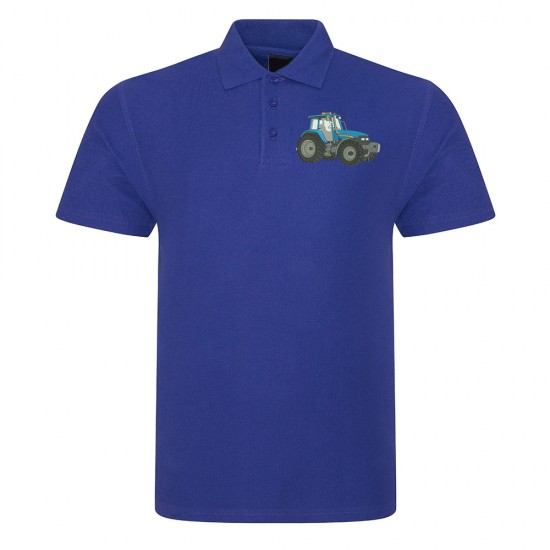 Polo Shirt Embroidered Blue Tractor