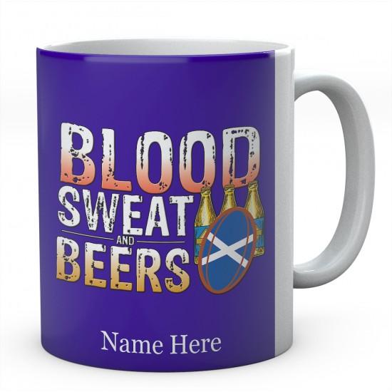 Personalised Blood Sweat And Beers Scotland Rugby Mug