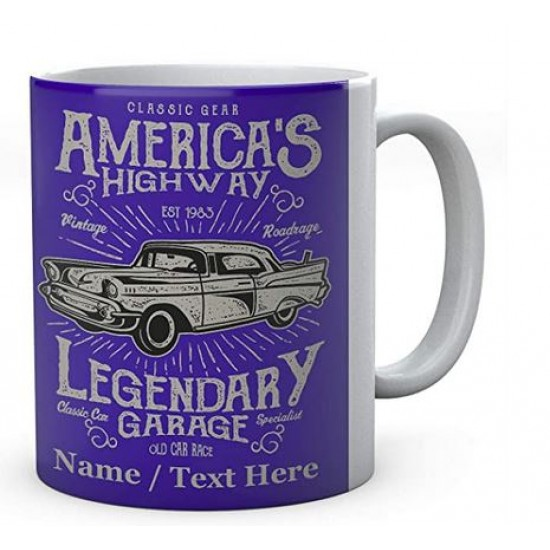 Mug - Ceramic -Classic Gear America's Highway Vintage Roadrage Legendary Garage