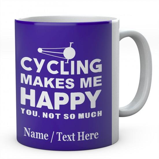 Cycling Makes Me Happy ....Personalised Ceramic Mug