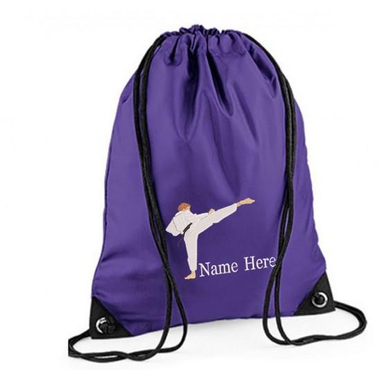 Personalised Embroidered Karate Drawstring Gym Bag.