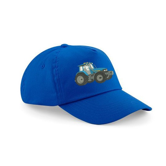 Child's Cap With Embroidered Tractor Blue /Grey