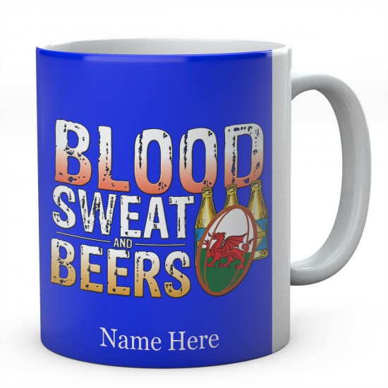 Personalised Blood Sweat And Beers Wales Rugby Mug