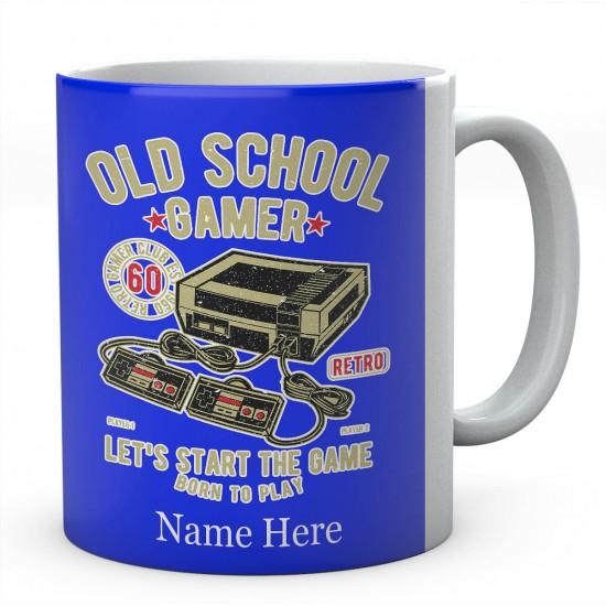 Personalised Old School Gamer, Let's Start The Game Born To PlayMug