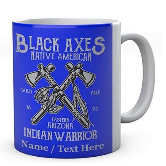 Black Axes Native American Indian Warrior - Ceramic Mug