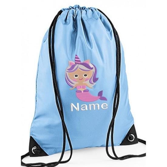 Personalised Embroidered Mermaid Drawstring Gym Bag