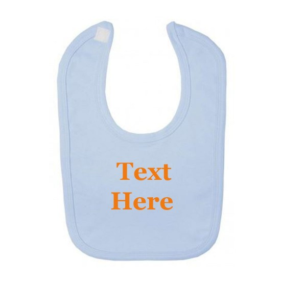 Light Blue Baby Bib Embroidered