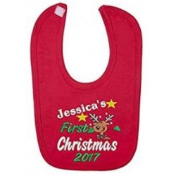 Personalised Embroidered (Reindeer) Baby's 1st Christmas Red Bib