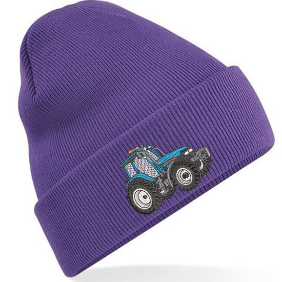 Embroidered Blue Tractor, Unisex Adults Beanie/Hat with Cuff