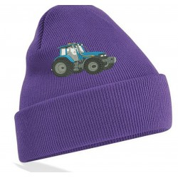 Embroidered Blue Tractor Unisex  Beanie/Hat with cuff