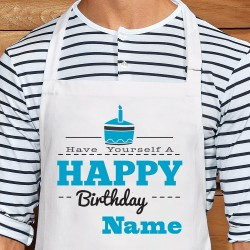 Have Yourself A Happy Birthday Personalised Apron (Text Colour Blue)