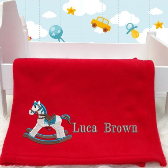Blue Rocking Horse BabyBlanket