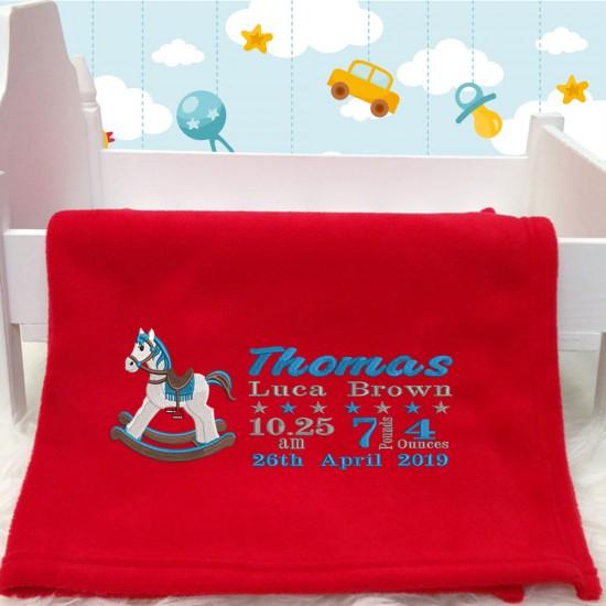 Blue Rocking Horse Baby Blanket With Birth Block