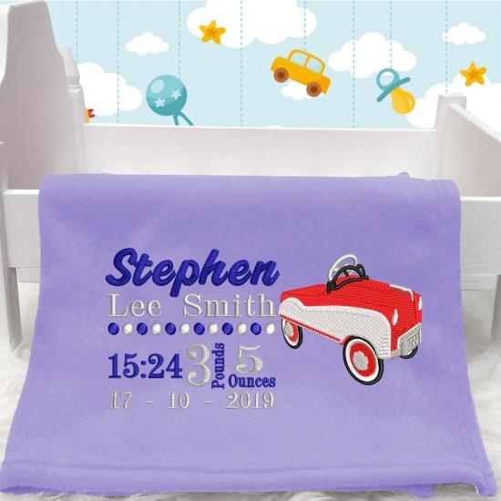 Personalised Car Baby Blanket(Birth Block)
