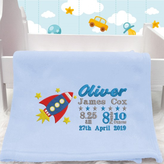 Personalised Embroidered Space Rocket Baby Blanket (Birth Block)