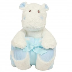 Hippo With Contrasting Baby Blanket.(Blue/White)