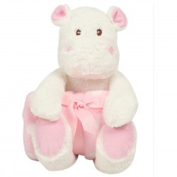Hippo With Contrasting Baby Blanket. (Pink/White)