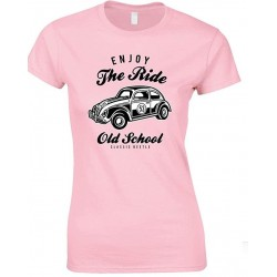 Enjoy The Ride- Old School Classic Beetle Ladies Fun T Shirt