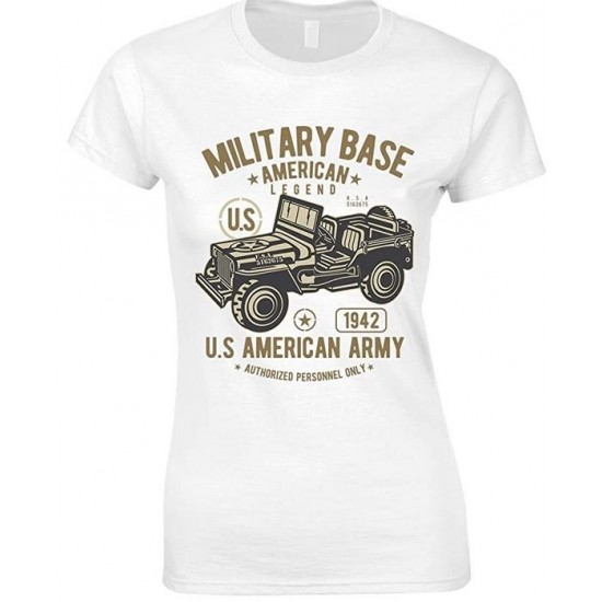 Military Base American Legend Army Jeep LadiesT Shirt
