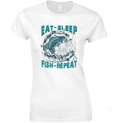Eat Sleep Fish Repeat- Ladies Fishing T Shirt