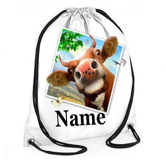 Personalised Cow Selfie Gym Bag