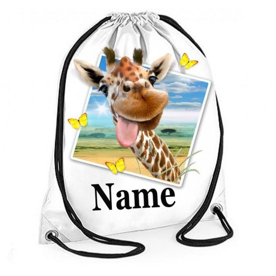 Personalised Giraffe Selfie Gym Bag
