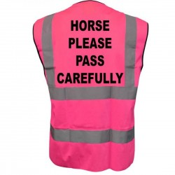 Horse Please Pass Carefully Printed Pink Adults Hi Vis Vest