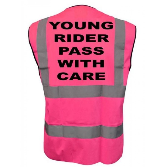 Young Rider Pass With Care Printed Pink Adults Hi Vis Vest