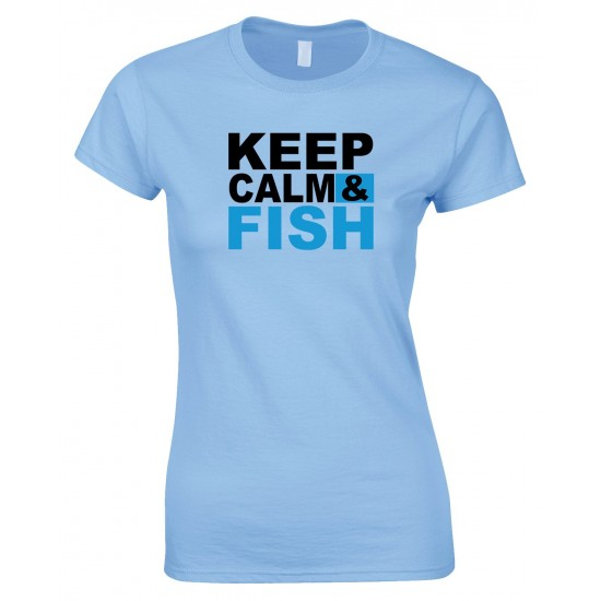 Keep Calm & Fish - Ladies Style T Shirt