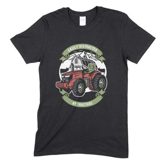 Easily Distracted By Tractors- Humorous T Shirt - Unisex Funny Tractor T Shirt