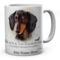 Personalised Black n tan dachshund Dog Mug