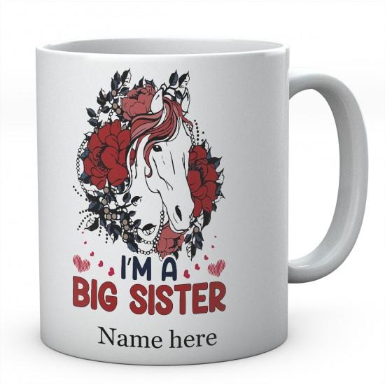 Personalised I'M A Big Sister Horse Mug