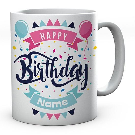 Customised Birthday Day Mug (Balloons) Novelty Gift Ideal Coffee / Tea